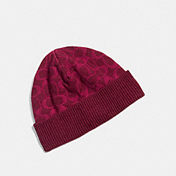 COACH F86024 Signature Knit Hat BRIGHT BERRY/LT BERRY
