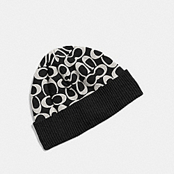 COACH F86024 - SIGNATURE KNIT HAT BLACK PALE GREY