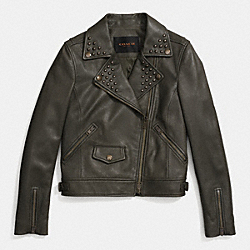 COACH F86042 - STUDDED MOTO JACKET MILITARY