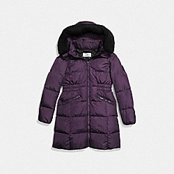 COACH F86045 Icon Long Puffer EGGPLANT