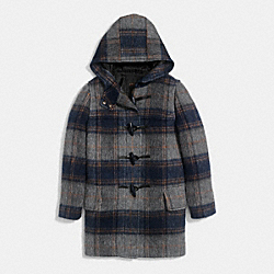 COACH F86047 Wooly Plaid Toggle Barrel Coat BLUE/MULTICOLOR
