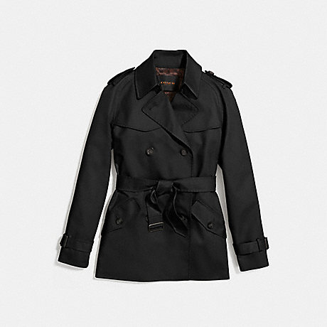 COACH F86050 SOLID SHORT TRENCH BLACK