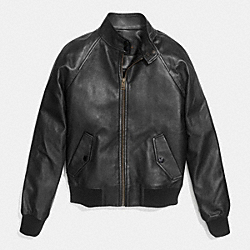 RAGLAN LEATHER BOMBER - f86053 - BLACK
