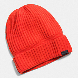 COACH CASHMERE KNIT RIBBED BEANIE - ORANGE - F86070