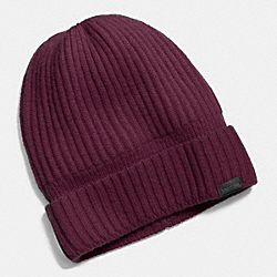 CASHMERE KNIT RIBBED BEANIE - f86070 - OXBLOOD