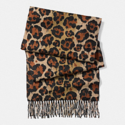 NATURAL LEOPARD SCARF - f86079 - NATURAL