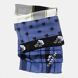 COACH F86088 Patchwork Wrap BLUE/MULTICOLOR