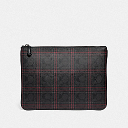 COACH F86111 Large Pouch In Signature Canvas With Shirting Plaid Print QB/BLACK RED MULTI