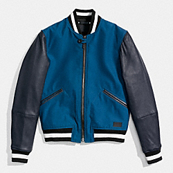 COACH F86139 Varsity Jacket NAVY/BRIGHT MINERAL