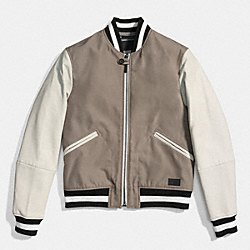 COACH F86139 Varsity Jacket FOG/CHALK