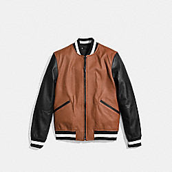 LEATHER VARSITY JACKET - f86146 - SADDLE/BLACK