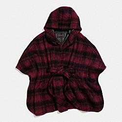 PLAID CAPE - f86266 - DARK CRANBERRY