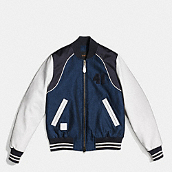 COACH F86427 Piped Varsity Jacket DENIM/IVORY