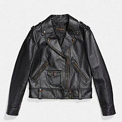 LEATHER MOTO JACKET - f86431 - BLACK
