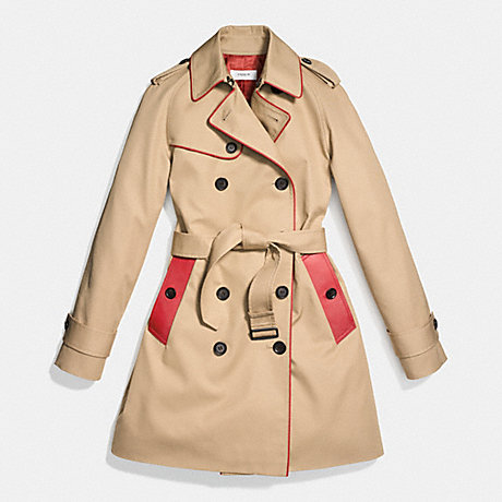 COACH LEATHER PIPED TRENCH COAT - CLASSIC KHAKI/VERMILLION - f86460