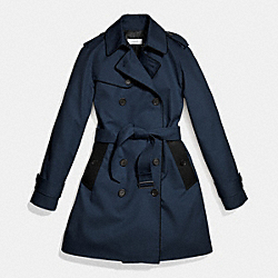 COACH F86460 - LEATHER PIPED TRENCH NAVY/BLACK