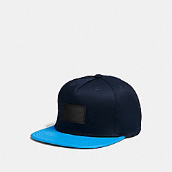 FLAT BRIM HAT IN COLORBLOCK LEATHER - f86475 - AZURE