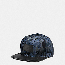 COACH F86475 Flat Brim Hat In Colorblock Leather BLUE HAWAIIAN FLORAL