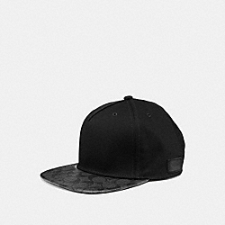 COACH F86476 Flat Brim Hat In Signature CHARCOAL/BLACK