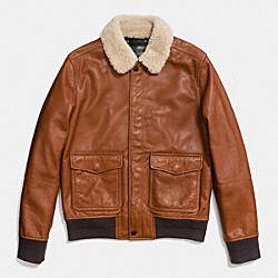 LEATHER SHEARLING AVIATOR JACKET - f86523 - SADDLE