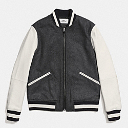 COACH F86524 - WOOL LEATHER VARSITY JACKET HEATHER GREY/CHALK