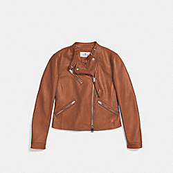 COACH F86528 Uptown Racer Jacket SADDLE