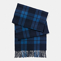 COACH F86538 Cashmere Blend Mount Plaid Scarf MIDNIGHT/DENIM