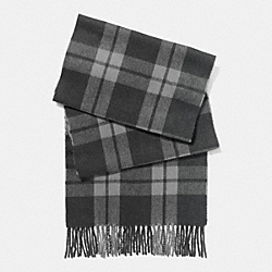 COACH CASHMERE BLEND MOUNT PLAID SCARF - CHARCOAL/FOG - F86538