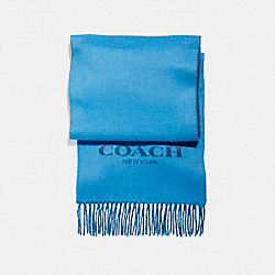 CASHMERE BLEND BI-COLOR LOGO SCARF - f86542 - BRIGHT BLUE