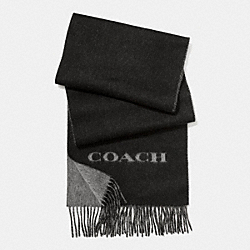 COACH F86542 Cashmere Blend Bi-color Logo Scarf BLACK/CHARCOAL