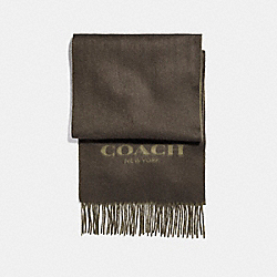 COACH F86542 - CASHMERE BLEND BI-COLOR LOGO SCARF MILITARY GREEN