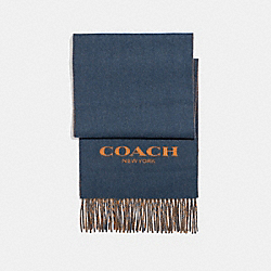 COACH F86542 - CASHMERE BLEND BI-COLOR SIGNATURE SCARF DENIM/FAWN
