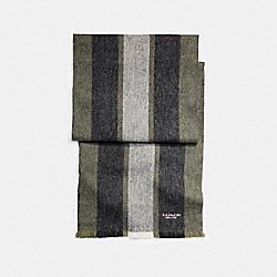 CASHMERE BLEND VARSITY SPORT SCARF - f86547 - MILITARY GREEN