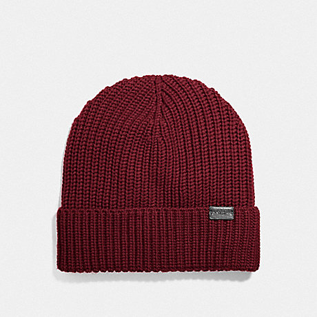 COACH F86553 RIB KNIT MERINO WOOL HAT BRICK RED