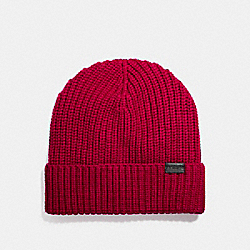 COACH F86553 Merino Wool Rib Knit Hat TRUE RED