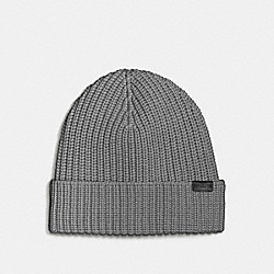 COACH F86553 - MERINO WOOL RIB KNIT HAT FOG
