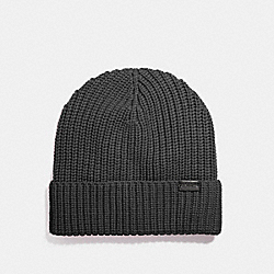 COACH F86553 Merino Wool Rib Knit Hat GRAPHITE