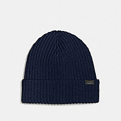 COACH F86553 Merino Wool Rib Knit Hat MIDNIGHT