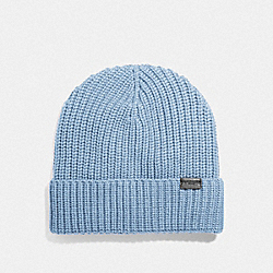 COACH F86553 - RIB KNIT MERINO WOOL HAT WASHED BLUE