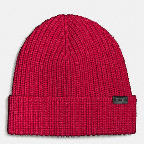 COACH f86553 MERINO WOOL RIB KNIT HAT RED