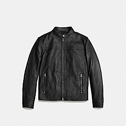 LEATHER RACER JACKET - f86594 - BLACK