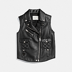 APPLIQUE BIKER VEST - f86647 - BLACK