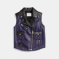 APPLIQUE BIKER VEST - f86647 - DUSK/BLACK