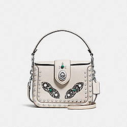COACH PAGE CROSSBODY WITH WESTERN RIVETS AND SNAKESKIN DETAIL - SILVER/CHALK - F86731