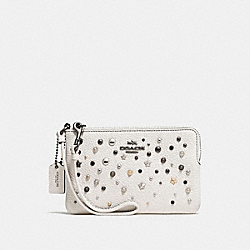 COACH F86750 Small Wristlet With Star Rivets CHALK/DARK GUNMETAL