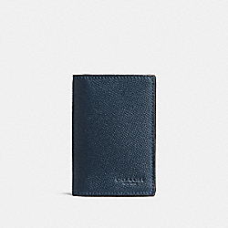 COACH F86763 Bifold Card Case In Crossgrain Leather DARK DENIM
