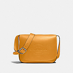 HUDSON MESSENGER IN NATURAL SMOOTH LEATHER - f86778 - BLACK ANTIQUE NICKEL/MUSTARD
