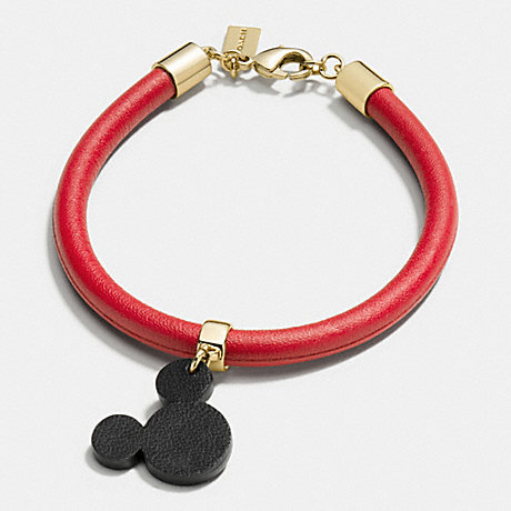COACH F86793 MICKEY EARS LEATHER CHARM BRACELET GOLD/RED