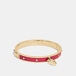 COACH F86794 Enamel And Rivets Signature C Hinged Bangle GOLD/TRUE RED