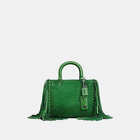 COACH f86826 ROGUE 25 WITH FRINGE kelly green/black copper